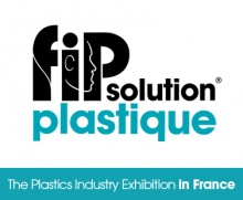 Turquoise blue and white text based image depicting The Plastics Industry exhibition, which was held June 2017 in Lyon France.