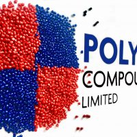 Capacité - Red and blue circle made of round pellets, Plus blue and black text present 'polymer compounders limited'
